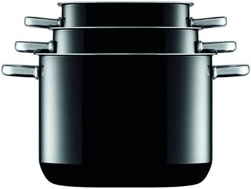 Silit - Batería de cocina de 4 piezas con tapa modelo Quadro Black y 2 sartenes Professional