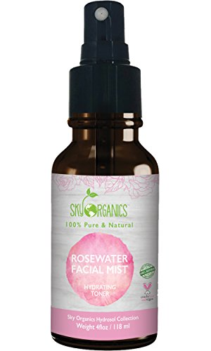 oner by Sky Organics 4oz-100% Pure, Organic Distilled Rosewater Toner For Face And Hair- Best Gentle Facial Cleanser -Preps Dry & Acne Prone Skin for Serums, Moisturizers & Makeup (Distilled Rosewater)