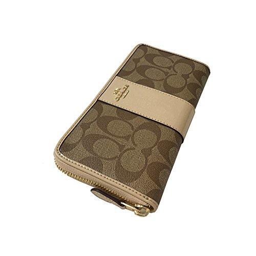Coach Womens Signature PVC Leather Accordion Zip Wallet Khaki Platinum F54630 IMCA9