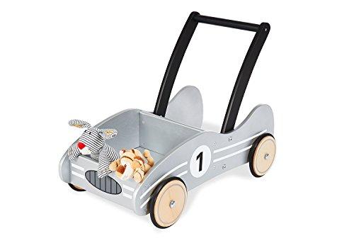 Pinolino Kimi Loopwagen met Rubberen Houten Wielen en Remsysteem, voor Kinderen van 1 tot 6 Jaar, Zilver