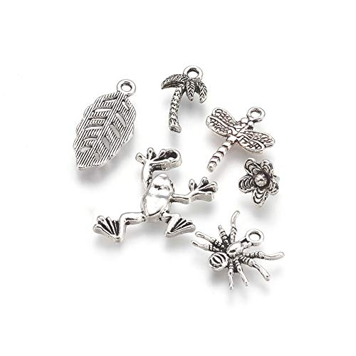 Pandahall 60pcs Nature Theme Alloy Pendants Tibetan Style Metal Charms Antique Silver Plated 10~25x10~19x2~7mm for Bracelet Necklace Jewelry Making ()