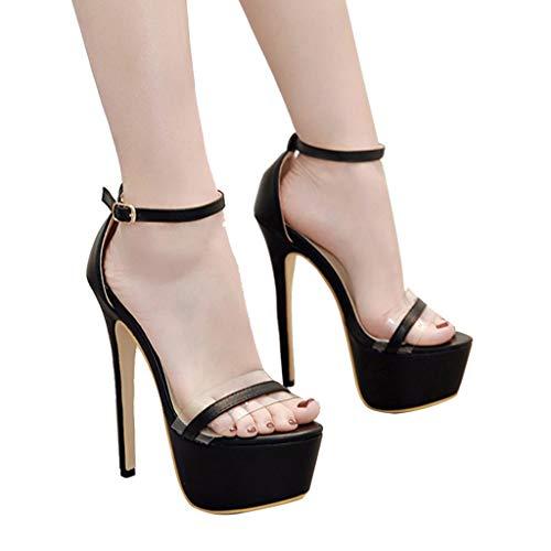 Dresslksnf Stiletto Sexy 16cm Bride Bouche Fermeture Cheville Noir De Club Soiree Epais Escarpins Talon Poisson Chaussures Plateforme Aiguille Femme xIrqawI
