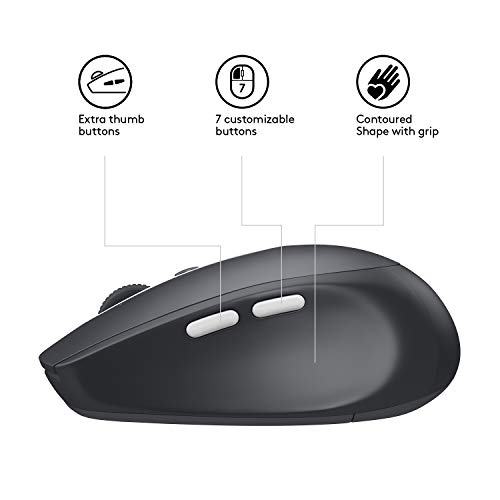 Logitech M585 Multi Device Wireless Mouse Control and Move Text Images  Files Between 2 Windows and Apple Mac Computers and Laptops with Bluetooth  or