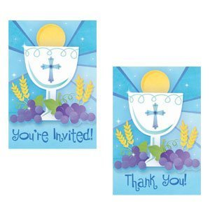 - First Communion Blue Invitation and Thank You Cards with Envelopes