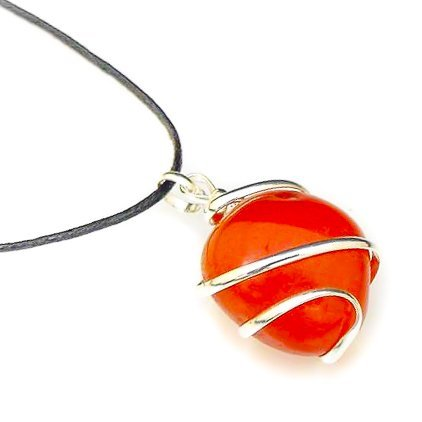 Raw Tumbled Carnelian Crystal Healing Pendant Necklace - for Motivation Strength Leadership Endurance Inspiration Courage - Authentic Stone on Silver Plated Chain Real Gemstone Chakra Healing Charm ()