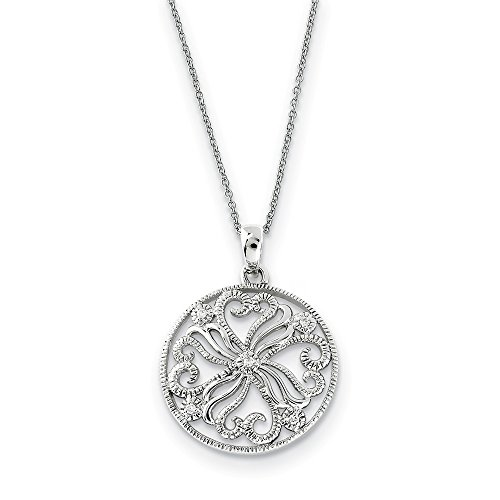 (Sterling Silver Polished Gift Boxed Spring Ring Rhodium-plated Cubic Zirconia Kindred Spirit 18inch Swirls Necklace)