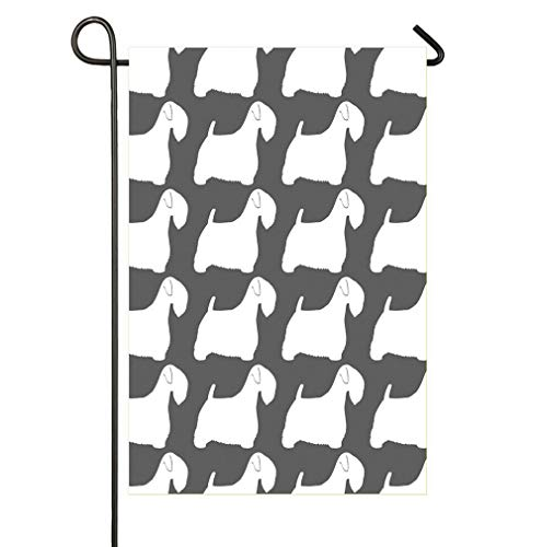"""Wlioohhgs Sealyham Terrier Silhouette(s) Double-Sided Seasonal Garden Flag, 12"""" x 18"""", Nice Decorative Flags for Outdoor, and A Great Gift Too!"""