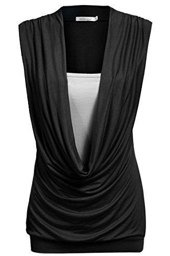 Meaneor Women's Ruched Cowl Neck Ladies Sleeveless Jersey Vest T Shirt Tank Top Black L