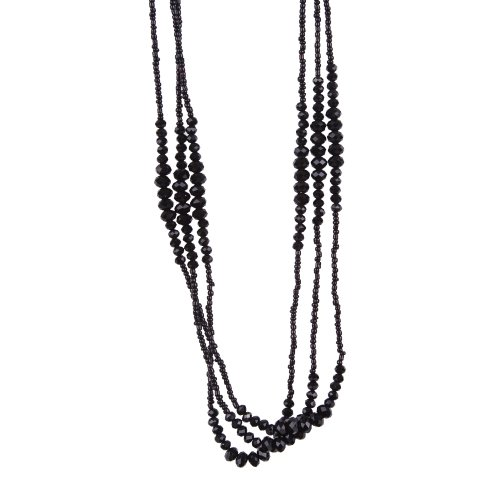 - Vintage Midnight Black Sparkly Beaded Necklace Jewelry (Very Long - 37 Inches)
