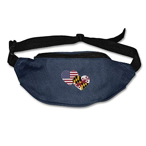 Spanwell Unisex Waist Pack US Maryland Flag Heart Flat Fanny Bag Pack For ort Running Travel