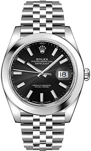 (Men's Rolex Datejust 41 Black Dial Jubilee Bracelet Luxury Watch - Ref. 126300)