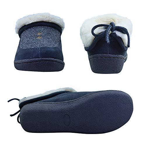 Indoor Lining Slippers Outdoor On Warm Cowhide Slip Plush Grey Women's Genuine qRIa0xw