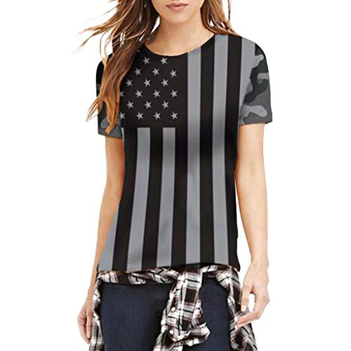 ndence Day Clothes SAYEI Fashion Women Stripe US Flag Print O-Neck Short Sleeve Loose Tops Blouse Black ()