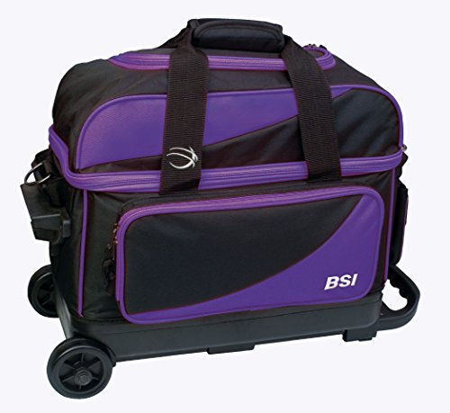 - BSI Double Ball Roller Bowling Bag, Black/Purple