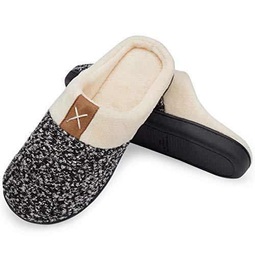 Dames slip Mémoire Chaussons Souple Welltree Chaud Blanc Peluche Mousse Maison Noir Pantoufles Intérieur Chaussures Léger Anti D'hiver Femmes w6qtf0B