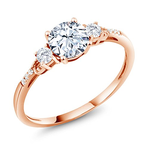 Gem Stone King 10K Rose Gold Hearts And Arrows White Created Sapphire Ring 1.34 Ct Round; (Size 7)