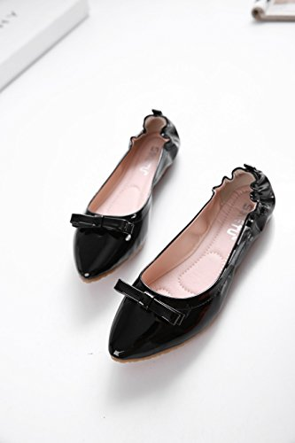 Plain Ballet Solid On Enllerviid Comfort Pointy Slip Casual Shoes Women's Toe Classic Soft Black Flats xwAg0YAq
