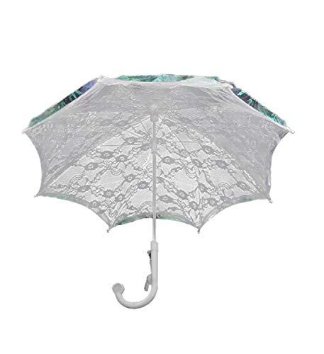 Mozlly Girls White 20 Inch Elaborate Lace Umbrella Parasol w/Whistle - Tea Party Weddings Flower Girl Victorian Vintage Style -