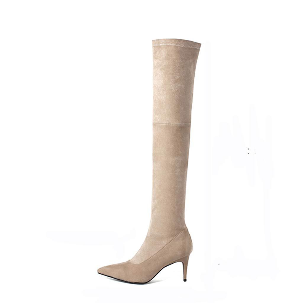 Overknee Stiefeln weiblich Leder wies Stöckel Absatz war dünn große Größe Stiefel Frauen High Heel Leder Stiefel Aprikosen Leder High Heels (Farbe   A, größe   34)