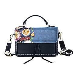Fashion Unique Handbag Food Temptation Creative Photography Photos Print Shoulder Bag Top Handle Tote Flap Over Satchel Purses Crossbody Bags Messenger Bags For Women Ladies