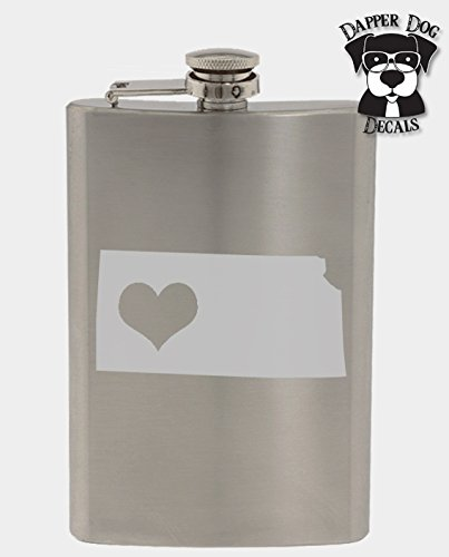 Kansas Pride I Heart My State Art Personalized Custom Hand Etched Stainless Steel 8 oz Flask Great Gift]()