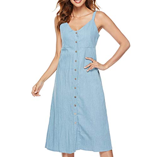 - Aunimeifly Stylish Women Single-Breasted Denim Strap Dress Sexy Solid Color V-Neck Sleeveless Vest Dresses