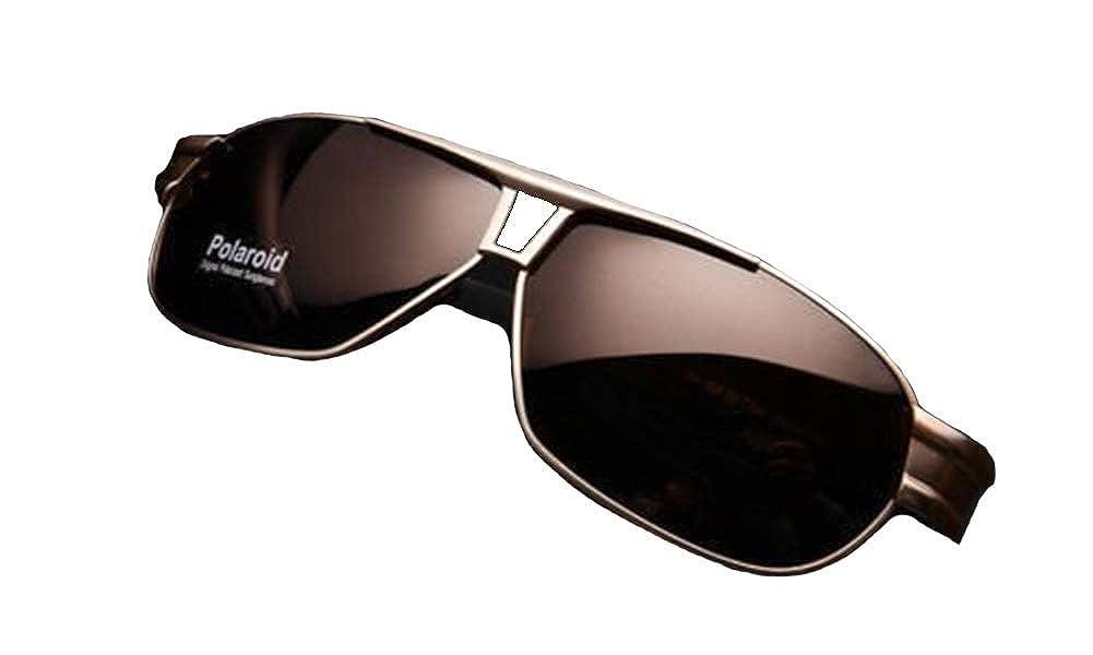 Brown Brand Driving Mirror Glasses Mens Polarized Sunglasses Aviator Outdoor Eyewear