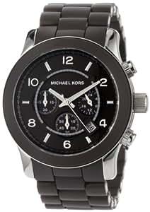 Michael Kors MK8129 - Reloj con correa de caucho para hombre, color marrón / gris