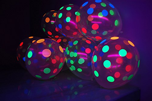 Blacklight Decorations (DirectGlow Brand Clear Latex 11 inch UV Blacklight Reactive Neon Polka Dot Balloons (25))