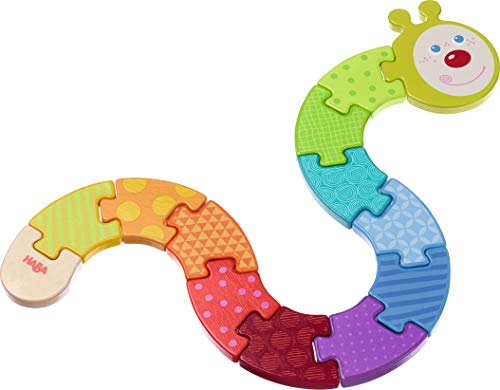 (HABA Arranging Game Rainbow Caterpillar - 13 Piece Winding Wooden Puzzle)