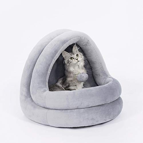KL Cat Litter Semi-Enclosed Non-Slip Winter Thick Warm Pet House Living Room Bedroom Balcony Universal Kennel (Color : Crystal Plush ash, Size : 42×40×38cm)
