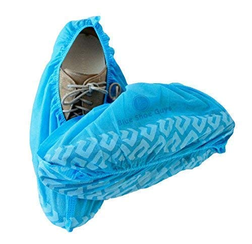 Blue Shoe Guys 100 Premium Disposable Boot & Shoe Covers   Extra Thick Water-Resistant Protective Foot Booties, Non-Slip, Men/Women, Recyclable Plastic   XLARGE (Happiness Guarantee)