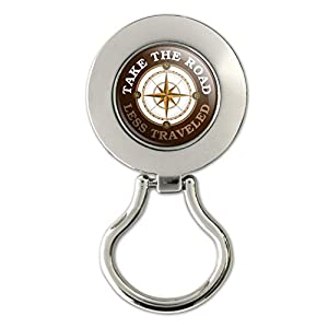 Take The Road Less Traveled Compass Magnetic Metal Eyeglass ID Badge Holder