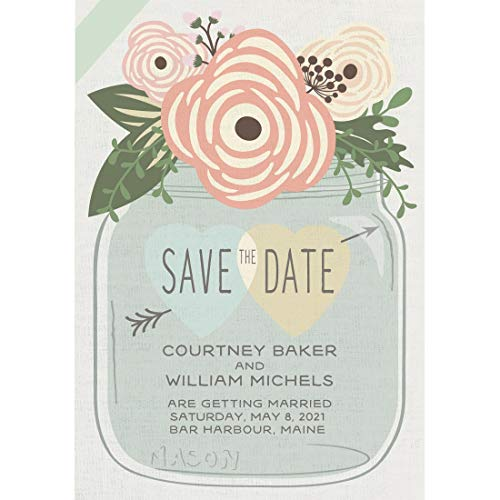 (All Things Weddings, Personalized Save The Date Postcards for Weddings or Engagement, Rustic Wedding Mason Jar Design, Pack of 50)