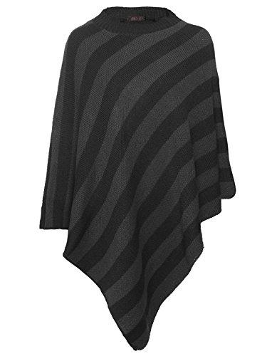 Multi Stripe Wrap Sweater (Rimi Hanger Women Stripe Knitted Winter Poncho Wrap Crew Neck Shawl Cape Black Grey Medium)