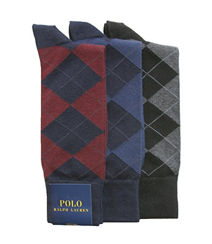 Polo Ralph Lauren Set of Three Mens Argyle Dress Sock (Size 10-13) (Hunter Green/Navy)