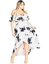 City Chic Womens Apparel Womens Plus Size Maxi Delicate Ruffle