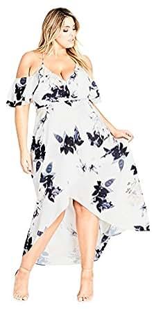 City Chic Women's Apparel Women's Plus Size Maxi Delicate Ruffle, Cream Floral, XS