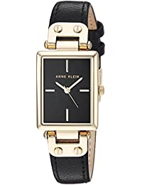 Anne Klein Women's AK/3204BKBK Gold-Tone and Black Leather Strap Watch