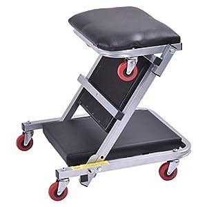 "Goplus 40"" Foldable Z Creeper Seat Rolling Chair Mechanics Garage 2 In 1 Work Stool"