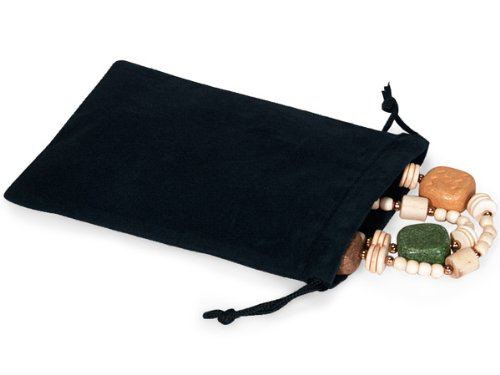 BLACK Jewelry Pouches 4''x5-1/2''Velour with cord drawstrings 5 unit, 100 pack per unit.