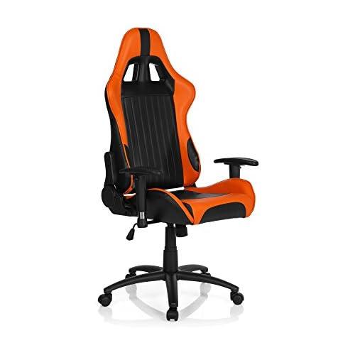 chollos oferta descuentos barato hjh OFFICE 729060 silla gaming SPIELBERG II piel sintética negro naranja silla de escritorio inclinable con reposabrazos