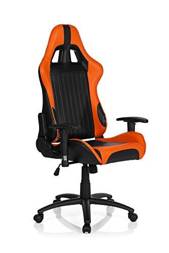 hjh OFFICE 729060 silla gaming SPIELBERG II piel sintetica negro/naranja silla de escritorio inclinable con reposabrazos