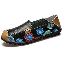 Beststore VAO New Cow Muscle Ballet Summer Flower Print Women Genuine Leather Shoes Woman Flat Flexible Nurse Peas Loafer Flats Appliques