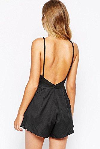 New Frau schwarz Open Back & Lace Detail Strampler Jumpsuit Spielanzug Catsuit Club Wear Größe UK 8