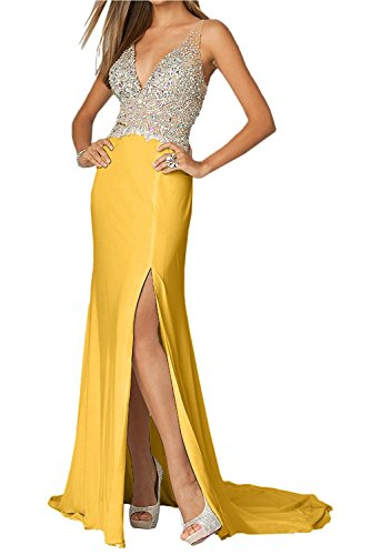 Ballkleider Festlichkleider mia Elegant Rot Braut Abendkleider Zahlreichen Ausschnitt Gelb Lang Steine Partykleider mit La V Dunkel RTq0BwxWv0