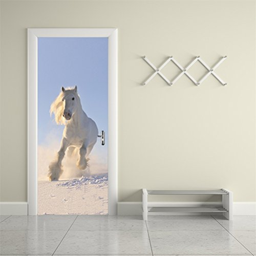 CaseFan Door Wall Mural Paper Stickers White Horse Vinyl Removable 3D Decals 30.3x78.7'',White by CaseFan