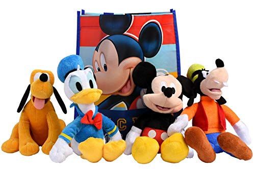 "Disney 11"" Plush Mickey Mouse, Donald Duck, Goofy & Pluto 4-Pack in Gift Bag"