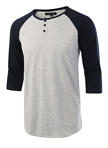 HETHCODE Men's Casual Raglan Fit Soft Baseball 3/4 Sleeve Henley T-Shirts Tee H.Gray/Navy XL
