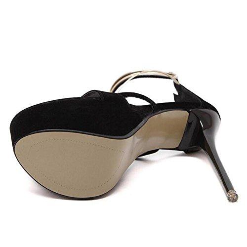 L@YC Women'S Ultra High Heels Fine Waterproof Table Metal Pointed Toe Dress Dance Shoes Black EHkUwcbCU